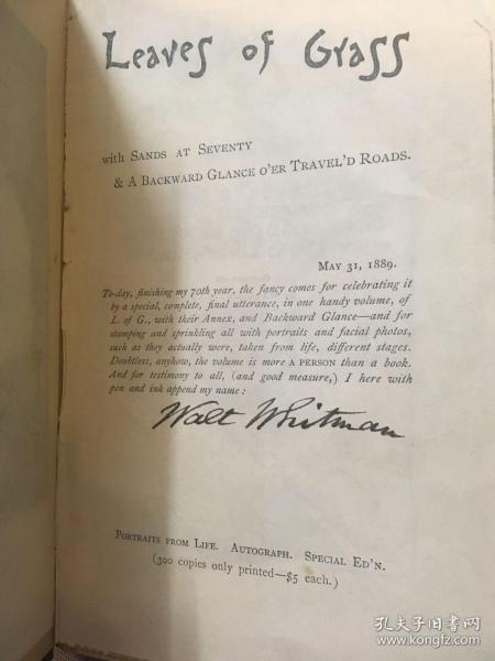 世界名著 《草叶集》限量300本亲笔签名(书上标明)惠特曼亲笔签名