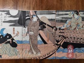 歌川国芳 役者绘《朝颜日记》娘深雪 大判三枚续 江户原版画 日本戏剧浮世绘