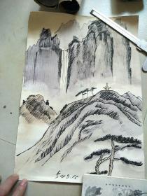 钢笔淡彩画(河大流出)