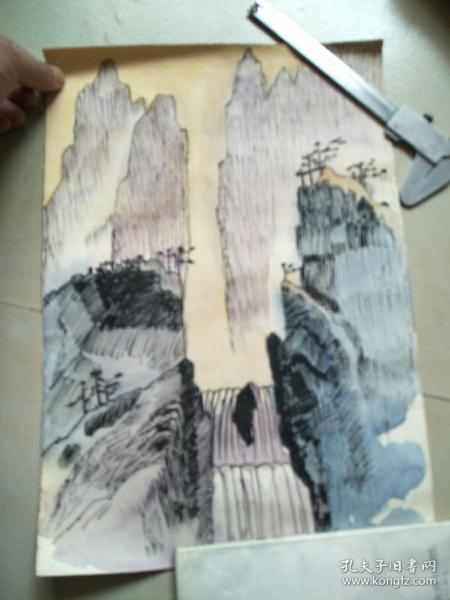 B钢笔淡彩画(河大流出)