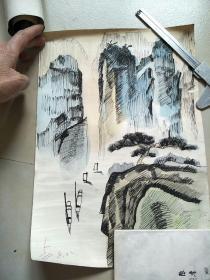 A淡彩钢笔画(手绘)河大流出