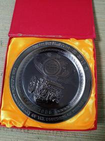 潍柴建厂六十周年纪念铜盘(潍坊柴油机厂 潍柴动力)附照片2张 (一起的)