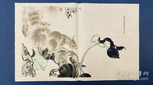 松鼠 老木版水印 刘奎龄