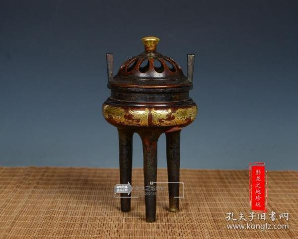 【宣德炉】老紫铜炉古董古玩收藏艺术品铜器高三足双儿香薰炉描金