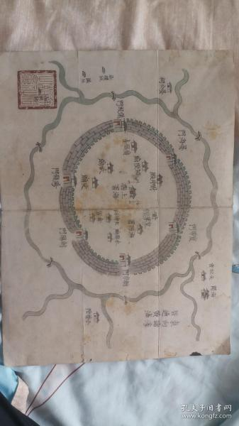 清代上海彩绘地图、手绘地图、上海县地图、清代地图