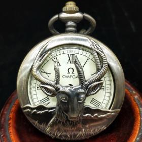 单开羊头机械怀表