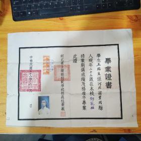 王瑞生 毕业证书 中华民国二十八年(附3张民国政府印花税票和照片)实物图