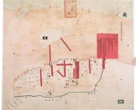 古地图1840-1842 海门阖境各港分界全图 清道光20年至22年。纸本大小65.87*53.24厘米。宣纸艺术微喷复制。