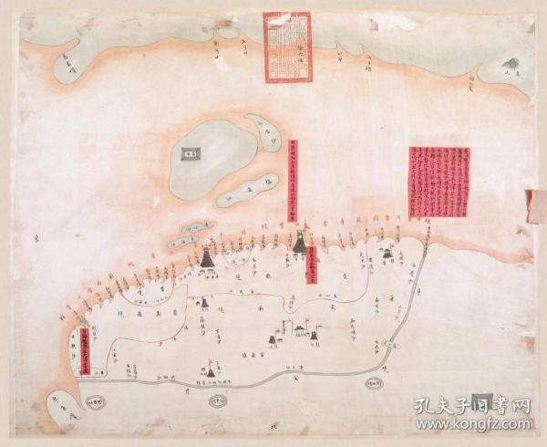 古地图1840-1842 海门厅各港水势深浅全图 清道光20年至22年。纸本大小66.56*54.46厘米。宣纸艺术微喷复制。