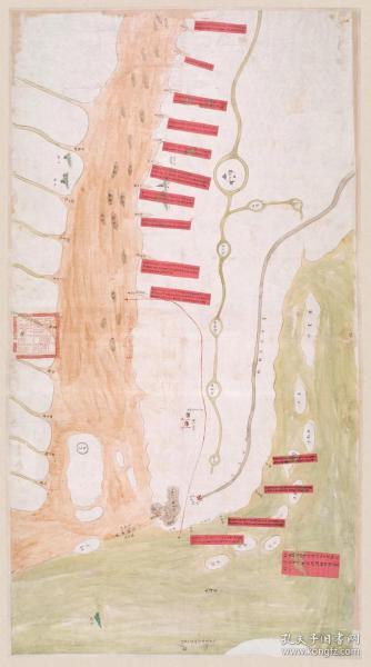 古地图1840 通州江海舆图 清道光20年前后。纸本大小75.18*41.94厘米。宣纸艺术微喷复制。