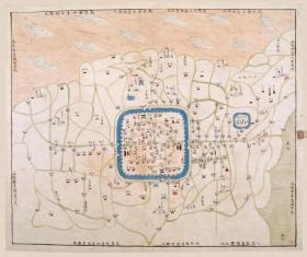 古地图1840-1842 松江城守营汛舆图 清道光20年至22年。纸本大小67*56.25厘米。宣纸艺术微喷复制。