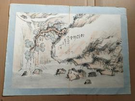 清代文人国画小品-------------松溪骤雪完整一副