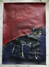 青年书画家胡子彩墨绘画作品《猫心》