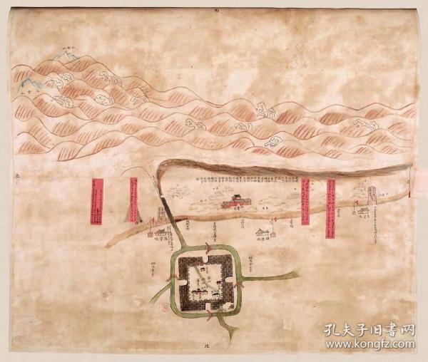 古地图1838-1843 金山县会勘海塘图 清道光18年至23年间。纸本大小65.83*55.73厘米。宣纸艺术微喷复制