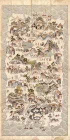 古地图1836 琼郡舆地全图 海南岛地图 清道光十六年前。纸本大小99.23*198.44厘米。宣纸艺术微喷复制。