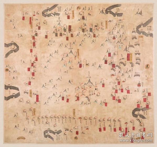 古地图1840 太湖营汛舆图 太清道光20年前后。纸本大小58.6*54.85厘米。宣纸艺术微喷复制