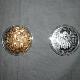 2015乙未羊年镀金镀银纪念章一对  带收藏证和收藏盒