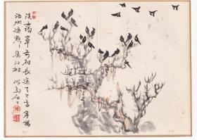 石川鸿斋诗画小品 2幅 《寒鸦图》、《客居听雁》诗