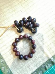 海南黄花梨老算盘珠子10颗,送一串大红酸枝手串