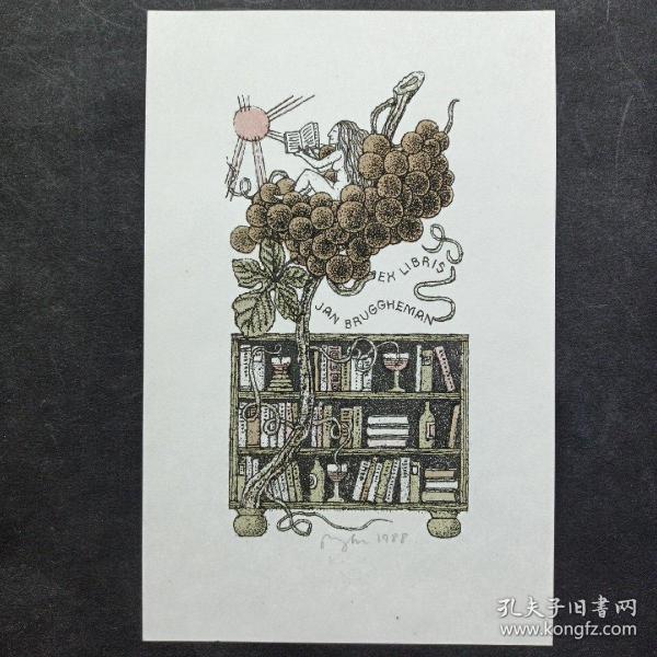 299-捷克VACLAV RYTIR 石版藏书票 小版画 签名