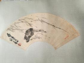 已故山东名家,中国美术学院教授,卢坤峰花鸟扇面,保真迹实价不议价!