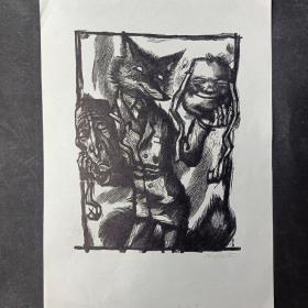 293- V LINGBULK木版小版画原作签名 狐狸