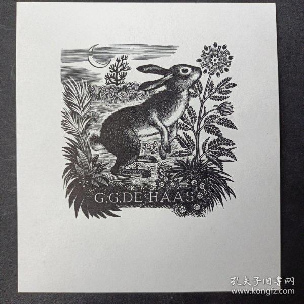 294-PAM RUETER藏书票原作 兔子