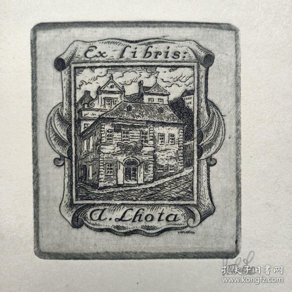 298- KAREL VOTHUKA铜版藏书票原作签名