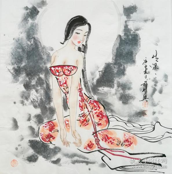 ※【顺丰包邮】【纯手绘】【薛林兴】国家一级美术师、中美协会员、手绘四尺斗方人物画 (68*68CM)2买家自鉴.