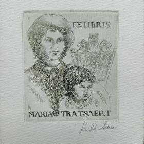 295- ANNA LASZLO 铜版藏书票原作签名