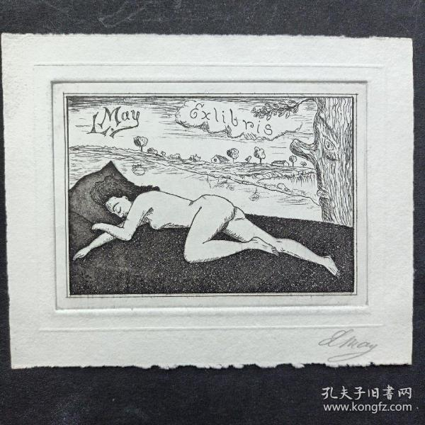 304-LORENTZ MAY铜版藏书票 签名