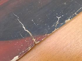 七十年代足球题材纸本油画(头球射门)