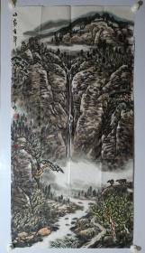 保真书画,陕西著名画家,梁耘山水画《山泉有声》一幅