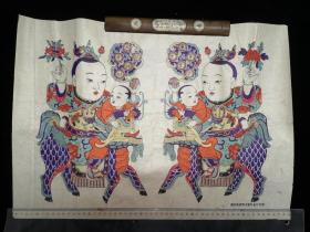 年画 兰房生贵子、桂阁产麒麟 一张 潍县杨家埠木版年画研究所