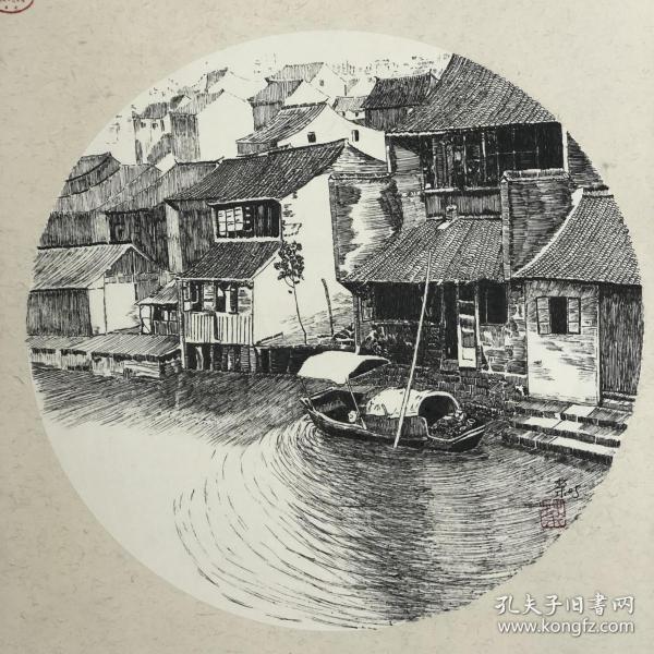 纯钢笔画灬水中之城