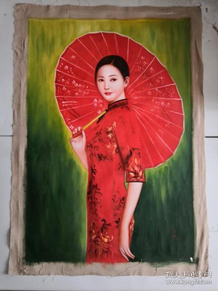 手绘油画打伞美女