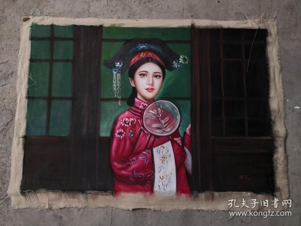 手绘油画侍女图作品