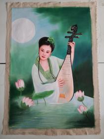 手绘油画手拿琵琶仕女图