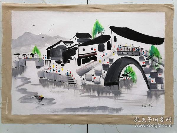 手绘油画风景江南