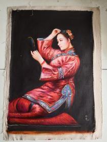 手绘油画作品 仕女图