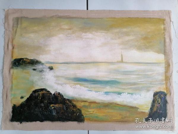 手绘风景油画 海边