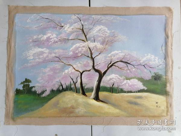 手绘油画樱花树下
