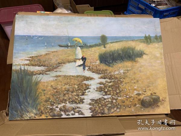 挺漂亮的一幅油画,很大,有90*60厘米,已经装裱好,但背面有点脏。