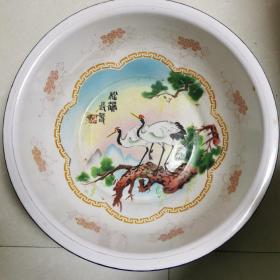 五十年代松鹤长春搪瓷盆
