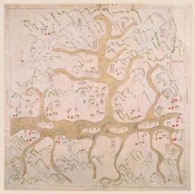 0346古地图1821-1843 桐庐县境舆图 清道光年间。纸本大小55.39*55.27厘米。宣纸艺术微喷复制