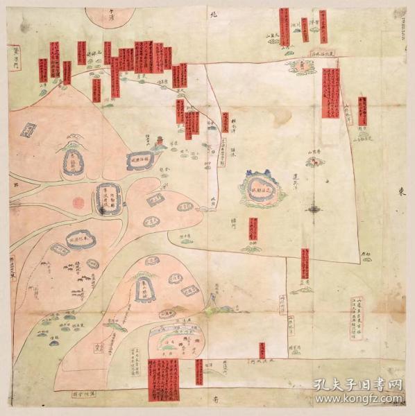 古地图1841 宁波府六邑海岛洋图 清道光21年以前。纸本大小55.42*55.51厘米。宣纸艺术微喷复制。