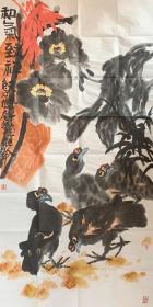 【终身保真字画,得自画家本人】田博庵     68X68cm!         田博庵,字庚石,山东菏泽人,大写意花鸟画家。多次参加全国美展和国内大型专题展览并获奖。十余幅作品先后被国务院、中央办公厅、怀仁堂、天安门管理处、中国人民革命军事博物馆等单位收藏。多家专业出版社、报刊杂志和网络、电视等媒体专题、专栏对其绘画作品。现为中国美术家协会会员、河南省花鸟画研究会副会长,郑州嵩山书画院院士。