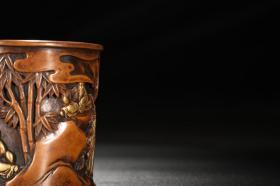 明 精铸铜胎鎏金人物故事图笔筒