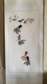 五鱼图(金鱼) 吴作人 老木版水印