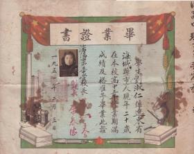 1951年毕业证书:沈阳市第三中学。